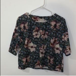 TopShop Jersey Floral Cropped Tee